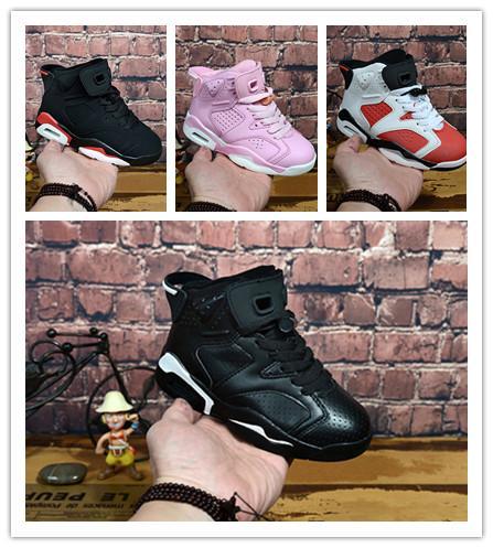 2018 Chaussures de sport pour enfants pas cher 6 Chaussures de basket-ball pour enfants J6 Baskets sportives pour garçons et filles, cadeau d'anniversaire, fille