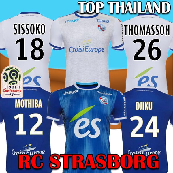 top popular 19 20 RC STRASBOURG Soccer Jersey ALSACE Football jersey Home Away 2019 2020 STRASBOURG DJIKU THOMASSON LALA MOTHIBA SISSOKO football shirts 2019
