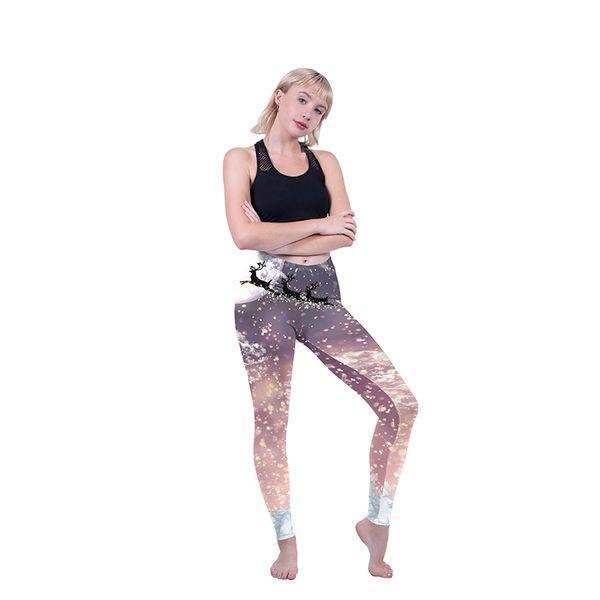 Lady Leggings Santa Flight 3D Digital Full Printed Elastic Waist Band Yoga Wear Pants Girl Skinny Jeggings Women Runner Pencil Fit (Y600886)