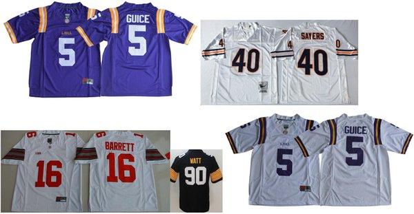 Mens LSU Tigers #5 Derrius Guice College Vintage Pittsburgh #90 T. J. Watt Chicago 40 Gale Sayers Color Rush American Football Jerseys Cheap