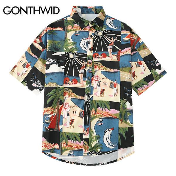 Gonthwid Vintage Mens Print Hawaiian Beach Aloha Shirts 2019 Summer Harajuku Casual Short Sleeve Shirts Male Fashion Streetwear C19041101