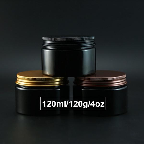 알루미늄 스크류 캡 120ml 화장품 분말 병 항아리 도매 4 온스 빈 검은 색 크림 컨테이너 도매