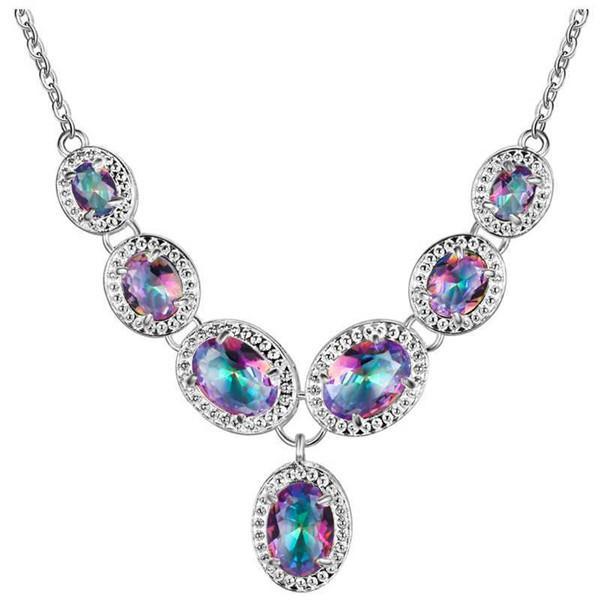 M Natural Mystic Rainbow Topaz 925 Conjuntos de joyas de plata esterlina para mujer Pendiente / Colgante / Collar / Anillo / Pulsera Envío gratis