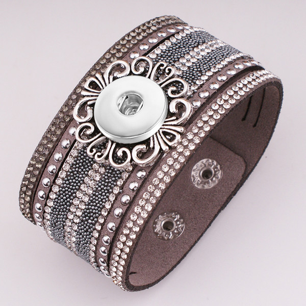 New Fashion crystal Korean velvet 18mm snap button jewelry bracelet GJ581 BOBOSGIRL New Fashion