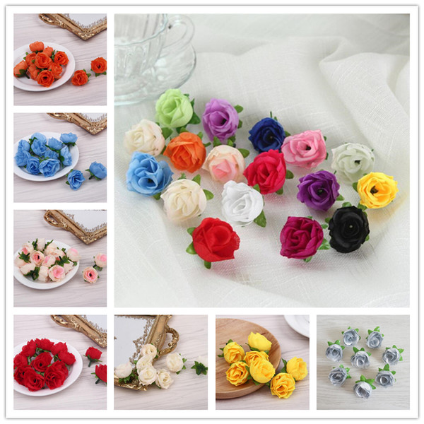 top popular Wedding Decorations Flower 18 Colors Artificial Silk Rose Flower Head Home Party Handwork DIY Bud Decor Simulation Flower Fake Flowers Heads 2021