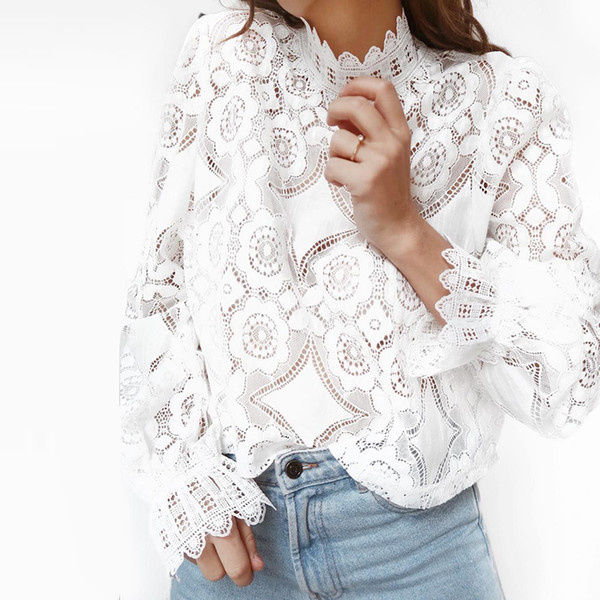 2019 Fashion Summer White Lace Blouse Shirt Women High Street Petal Sleeve Blouses Female Casual Long Sleeve Tops MX19070402