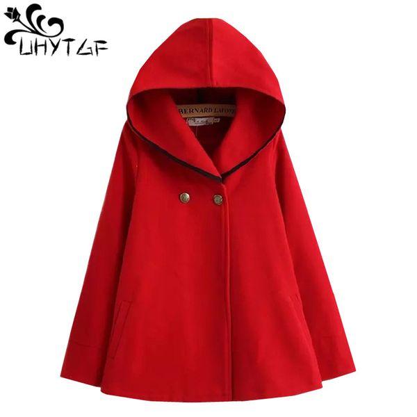 UHYTGF Autumn Winter Short Wool Coat Women Plus size Hooded Cloak Woolen Coat tide Fashion Loose Bat sleeve Woolen Outerwear 684