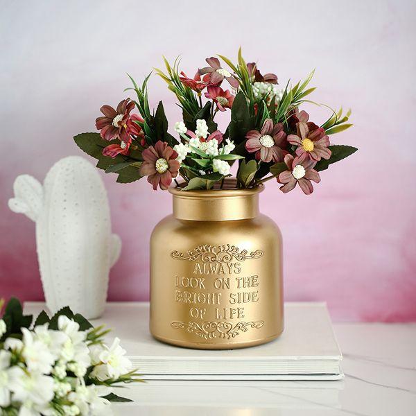 Compre Florero De Vidrio Dorado Simple Personalidad Arreglo Floral Diseño De Escritorio Decoración Creativa A 3546 Del Crape Dhgatecom