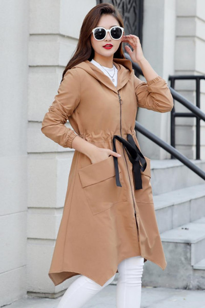Spring Autumn New Fashion Women Plus size Thin Hooded Loose Long Trench Coat Easy Leisure Personality With Windbreaker Women 7XL