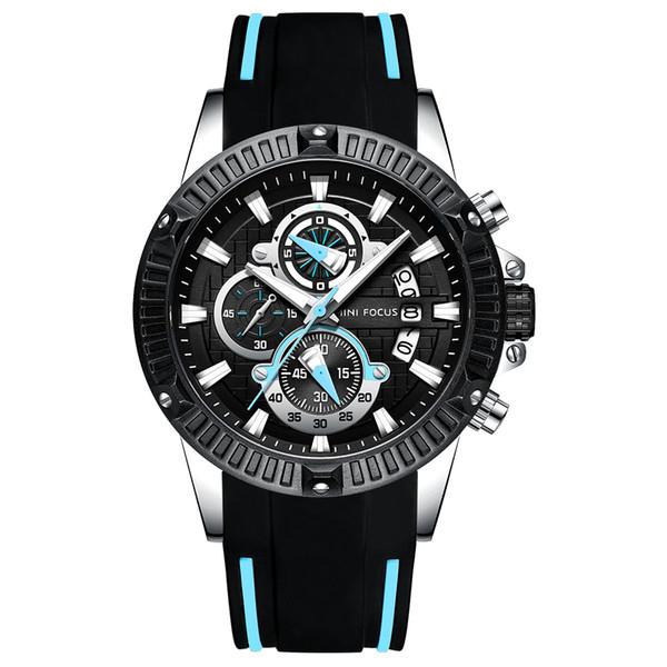 Luxury MINI Fashion Sports Watch Three-eye six-pin Timing Speed Calendar Waterproof Men's Watch Super Avenger II Male Rubber Watch 0002G