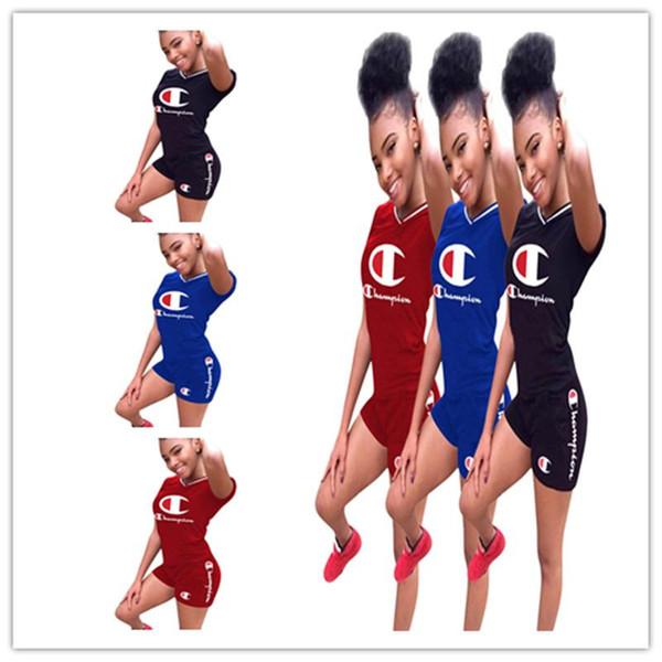 S-3XL Campeones de la camiseta de las mujeres Campeones Conjunto Traje de verano Trajes de manga corta 2 piezas Más el tamaño Ropa deportiva Joggers Conjunto Ropa de calle