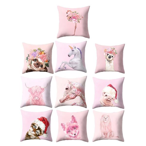 Flamingo Bronceado Funda de cojín Sweet Cat Dog Pet Impreso Algodón Geométrico Rosa Hogar Decorativo Almohadas Cubiertas