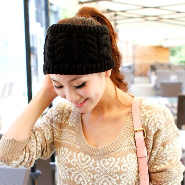 Moda Kore Kış Sıcak Kadınlar Örgülü Bere Cap Baş bandı Saç Bantları 2016 Moda Bombacı Şapkalar