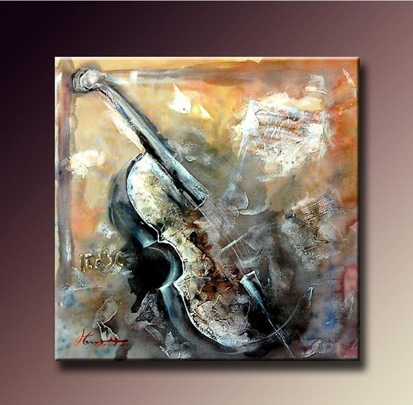 Abstract High Quality Handpainted & HD Print Art Oil Painting Violin Musical On Canvas Wall Art Home Office cafe bar Deco g146