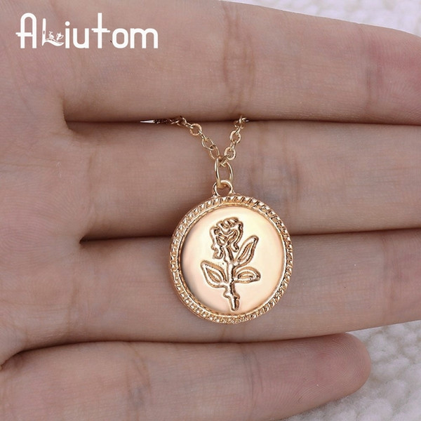 Gold Alloy Round Pendant Necklace For Women Simple Female Long Chain Coin Necklace Rose Fashion Necklace A Direct Sale