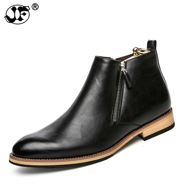 men boots genuine leather fashion classic business office formal ankle boots men shoes male casual handmade round toe 869