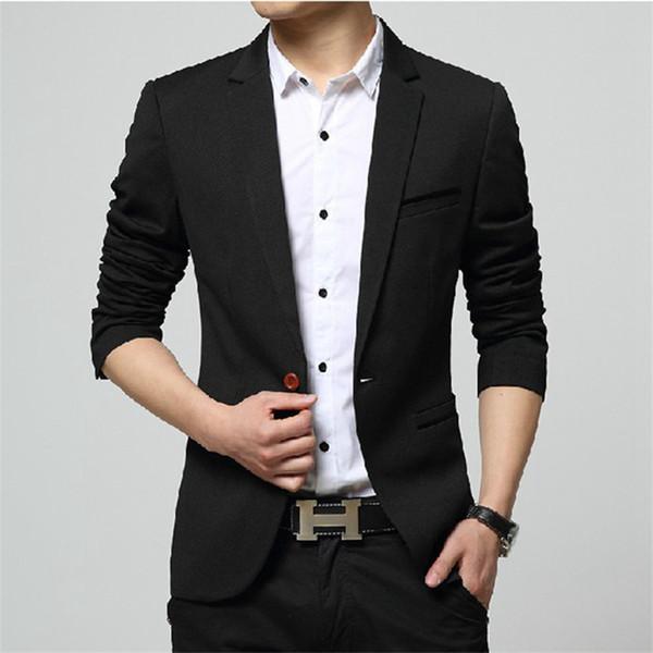 2019 Mens Korea Slim Fashion Blazers Suit Jacket Male Casual Plus size Coat Wedding dress Black Sea blue Wine Red Suit coat men