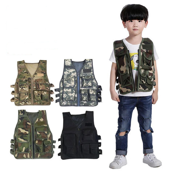 Crianças Camouflage Sniper Vest Bebé menina roupas de caça Woodland Army Tactical Uniforme da selva combate Kids Clothing Y171