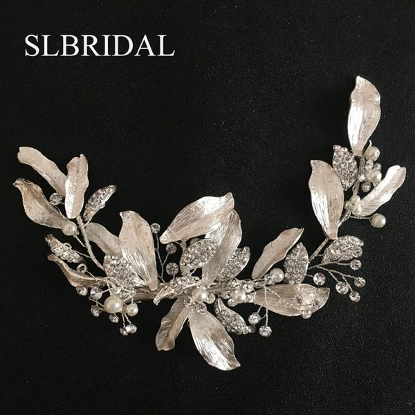 wholesale Handmade Silver Austrian Crystals Rhinestones Flower Leaf Wedding Hair Clip Barrettes Bridal Headpiece Hair accessories