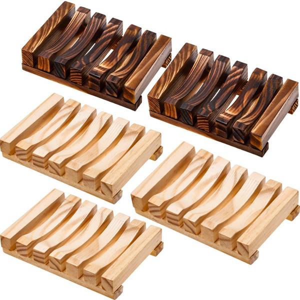 Bagno in legno supporto del sapone Caso casa a mano artigianato del legno naturale supporto del piatto di sapone Spugna lavaggio, 5 pezzi, 2 colori
