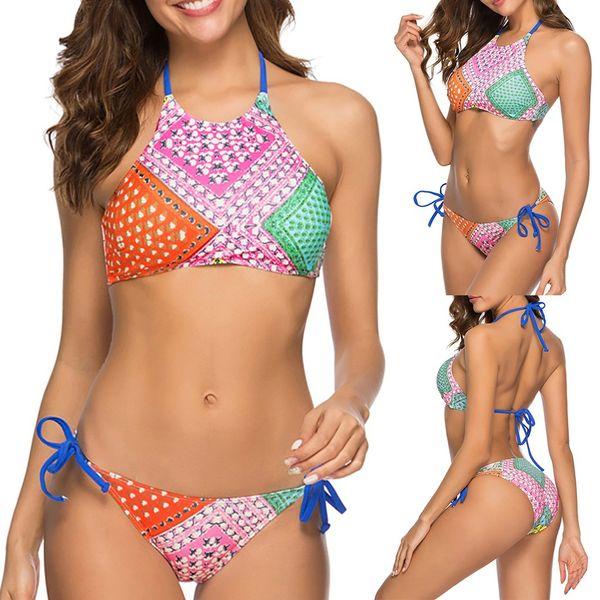 bikini 2019 Women's Sexy Two Piece Bikini Set Swimsuit Print Swimwear Beachwear swimweared high waist swimwear women biquini@17