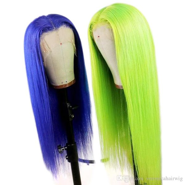 Fashion Light Green Wig High Temperature Fiber Hair Synthetic Lace Front Wig 26 Inches Long Straight Glueless Lace Cosplay Wigs for Women