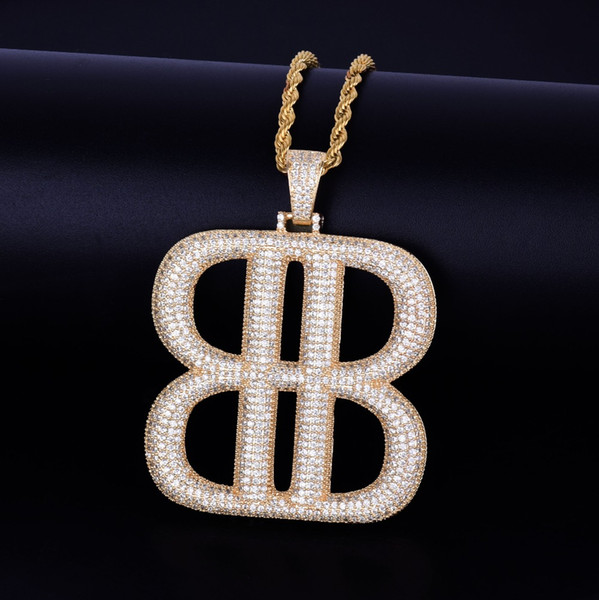 B Letter Geometric shape with Rope Chain Necklace Gold Silver Pendant Bling Cubic Zircon Hip hop Men Jewelry