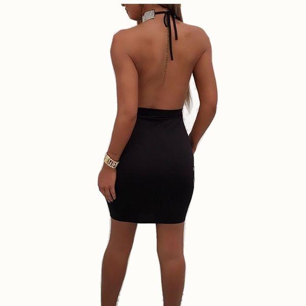 Yeni Stil Seksi Sıska Fit Bayan Seksi Derin V Boyun Halter Backless Gerdanlık Yarık Pullu Bodycon Mini Elbise