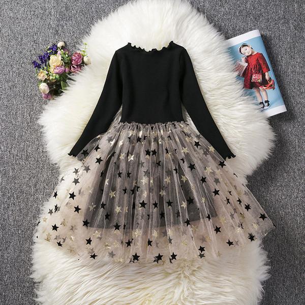 Filles étoiles transparentes robe Kids Fashion étoile blingbling imprimé robe de tutu à manches longues noir Perspective jupe