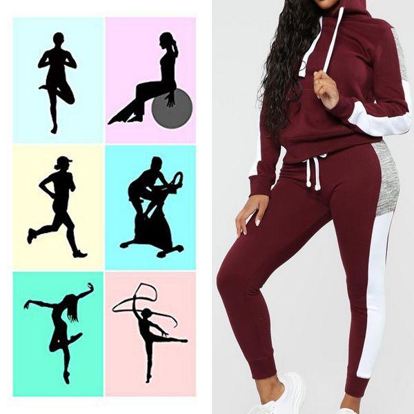 Plus Velvet Slim Running Set Trajes de jogging para mujer Cremallera con capucha Manga larga Tops deportivos Pantalones largos Ropa deportiva Mujer Invierno