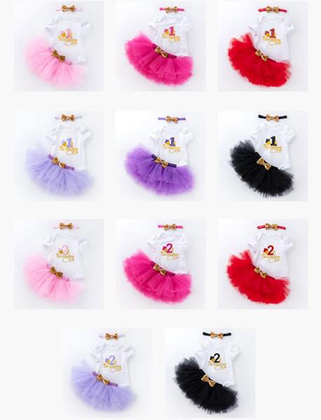 11 Arten Baby Mädchen Geburtstag Kurzarm Outfits Strampler + Tutus Röcke + Pailletten Stirnband 3er Set Infant Party Dress up 1. 2. Jahr Kleinkind g