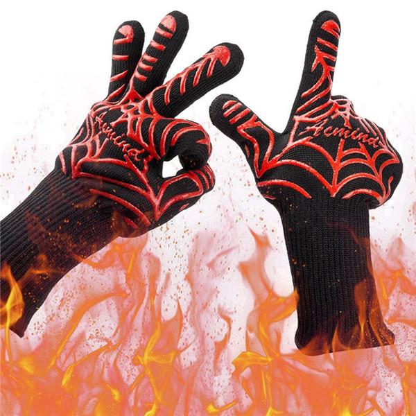 Horno Guantes resistencia alta temperatura 800 grados aislamiento térmico del horno BBQ ignífugo fuego barbacoa horno gel de sílice guantes de algodón