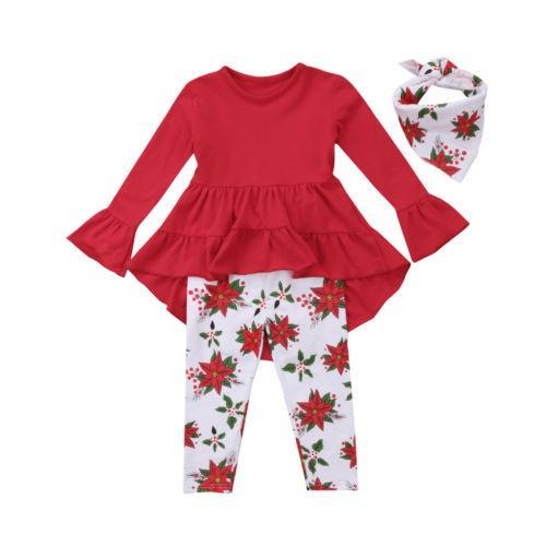 Girls Clothing Set Baby Girls Kid Outfit Long Sleeve Kids Toddler T-shirt Dress+Long Pants Clothing Set For 2-6Y Girls Clothing Set Baby Girls Kid Outfit Long Sleeve Kids Toddler T-shirt Dress+Long Pants Clothing Set For 2-6Y