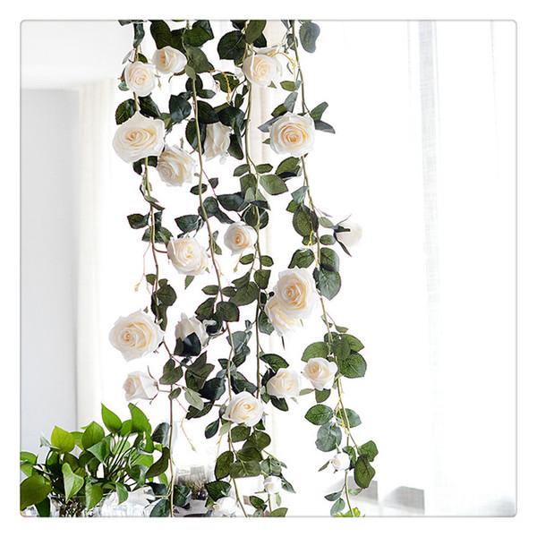 6 Ayaklar El yapımı Yapay İpek Gül Vines Dekoratif Sahte Ev Duvar Bahçe Düğün Dekor için Gül Çiçek toptan