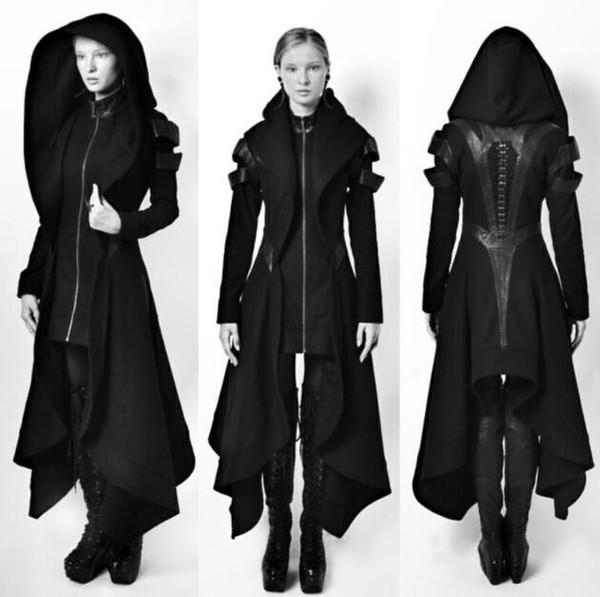 Medieval Vintage Longos Casacos Blusões Slim Com Capuz Casacos Plus Size Mulheres Zíper Preto Design Casacos Saia Outerwear
