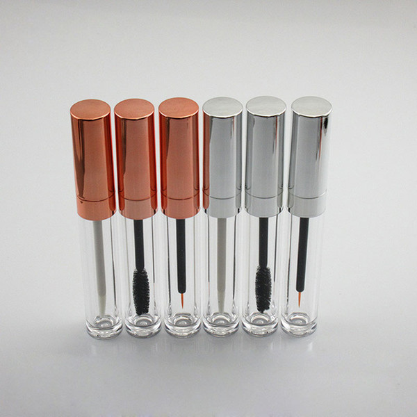 6ml Lip Gloss Tubes Rose Gold Silver Cap Mascara Tube Empty DIY Plastic Eyeliner Tube Cosmetic Container ZC1370