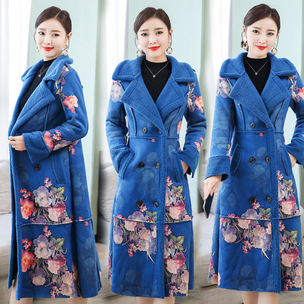 Wool coat women winter coats Plus size large warm thick parka long jacket floral elegant vintage female high quality clothes