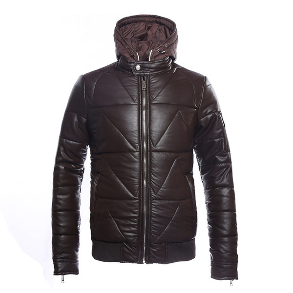 NXH 2019 mens leather jacket Waterproof Coats Winter Coffee Jackets Plus Size Man Hood PU Leather Parka Coat hat men winter coat
