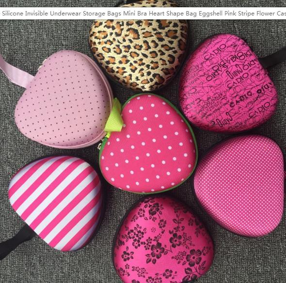 Silikon Görünmez İç Saklama Poşetleri Mini Sütyen Kalp Çanta Yumurta kabuğu Pembe Çizgili Çiçek Kılıf İle Fermuar Konteyner 5 5pc ZZ Şekle