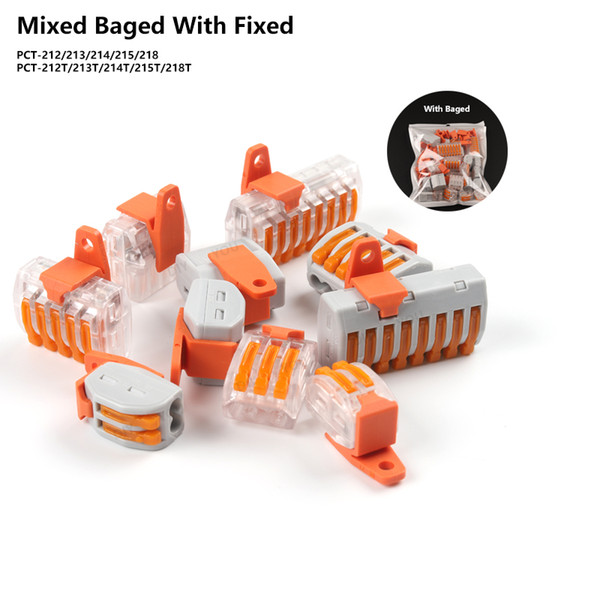 best selling Connectors Mixed bag Mini Fast Wire Connectors with fixing Fitting Universal Compact Wiring Conductor Push-in Terminal Block PCT-212-218