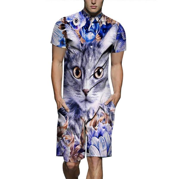 Mens 3D Cat Designer Suits One Piece Chemises Shorts 2pcs Vêtements Ensembles Hauts Manches Courtes