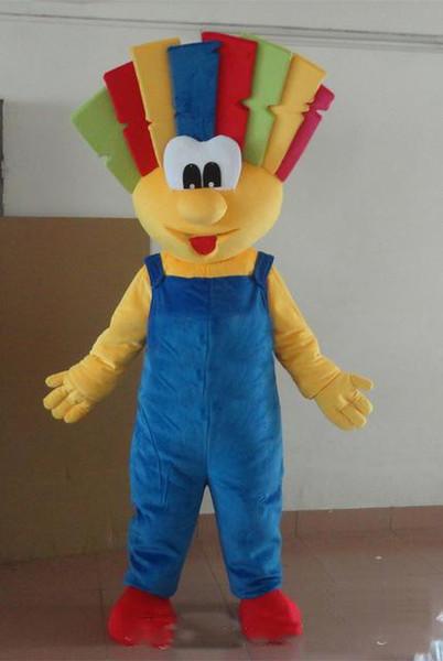 2019Colorful Palhaço Trajes Da Mascote tema Animado Palhaço de Natal Cospaly mascote Dos Desenhos Animados Personagem Traje Do Partido Do Carnaval de Halloween