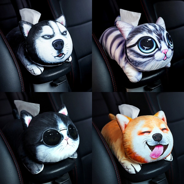 Car Tissue Box Car Accessories Cute Cartoon Plush Tissue Holder Box Cover Home Decor Paper Towel Holder Styling
