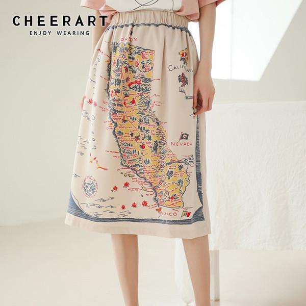 Cheerart Vintage Etek Harita Baskı Yüksek Bel Bir Çizgi Etek Elastik Bel Diz Boyu 2019 Yaz Moda