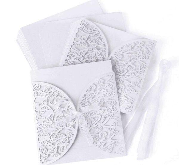 4pcs set White Lace Openwork Piazza Invito a una festa Invito di alta qualità Carta da sposa Hollow Greeting Card Forniture di nozze