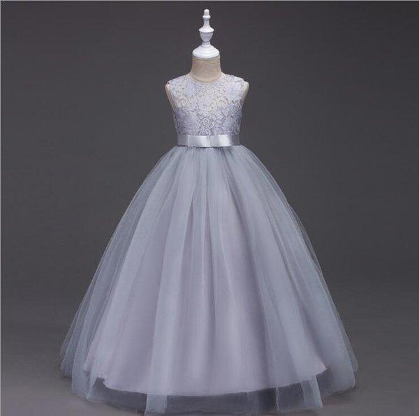 Vestido para niñas de flores para niños Vestido de encaje con lazo de tul de boda Vestido elegante de fiesta de princesa Vestido formal para niñas grandes Vestidos de fiesta para niños