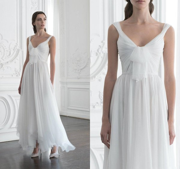 Asymmetrical Chiffon Long A Line Wedding Dresses 2019 Off Shoulder Zipper Back Maid of Honor Party Gowns for Bride