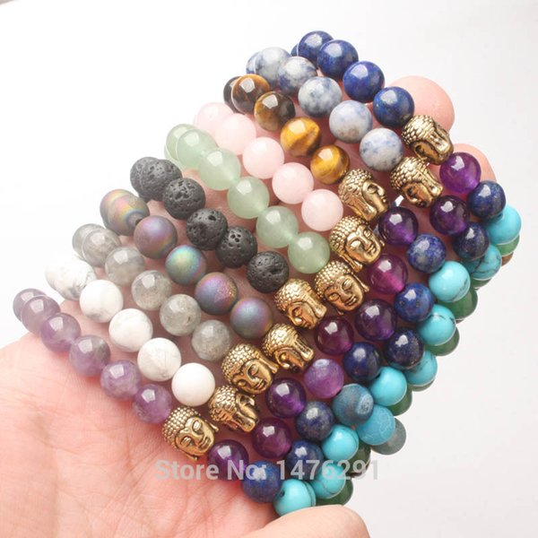 Wholesale 8X8MM Volcano Lapis Amethysts Quartz Labradorite Aventurine Round  Golden Buddha Stretchy Bracelet Bangle 7