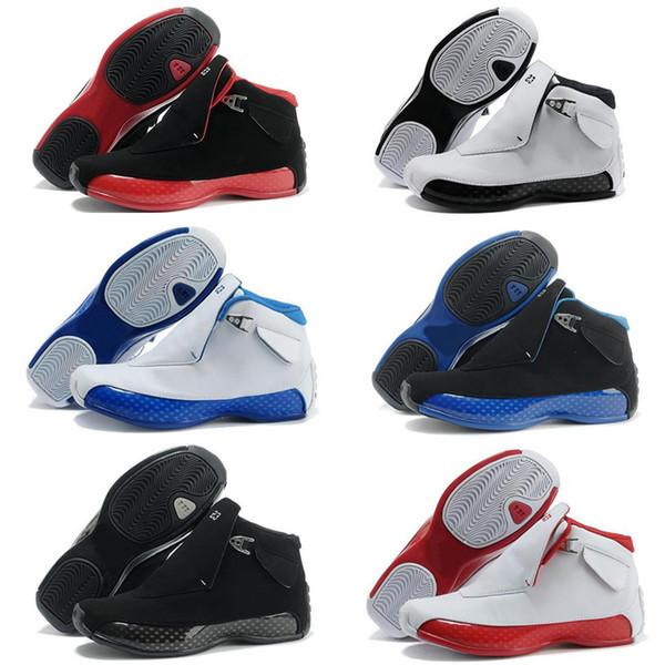 Erkek Basketbol Ayakkabılar 2019 18 Gym Kırmızı Siyah Mavi Kraliyet Beyaz Metalik Gümüş klasik 18s XVIII Orta Atletik Spor Sneakers Boyutu 41-47