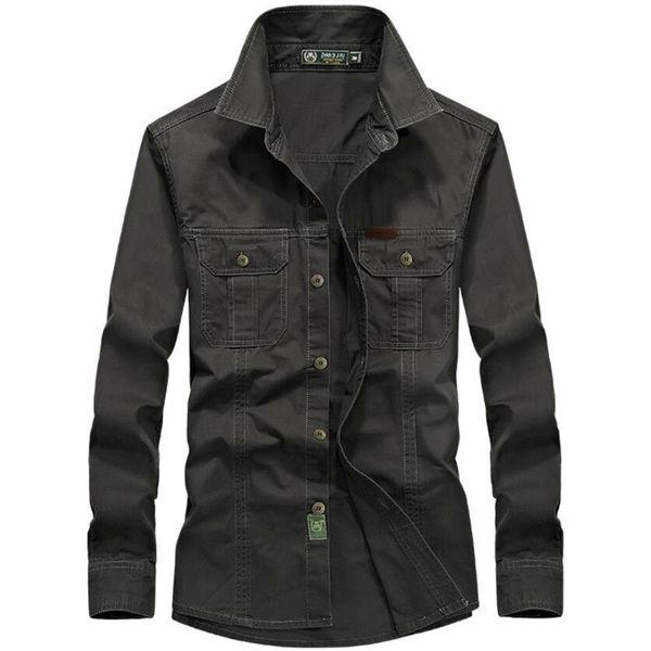100% Cotton Long Sleeve Shirt Men Spring Autumn Casual Business Full Sleeve Shirts Dress Military Uniform Shirt Plus Size 5xl6xl